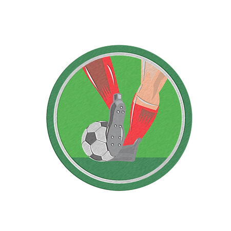 metal legs: Metallic styled illustration of a leg foot kicking a soccer ball set inside circle done in retro style.