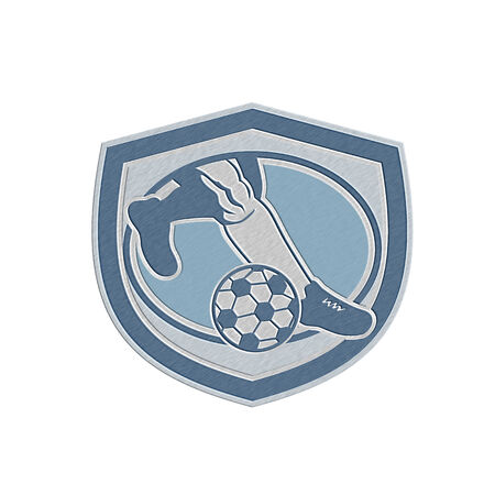 metal legs: Metallic styled illustration of a leg foot kicking soccer ball set inside shield crest done in retro style.