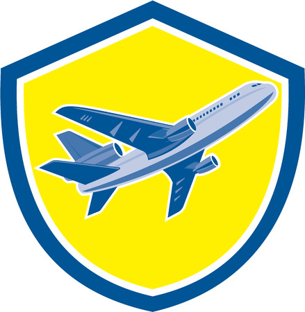 jet airplane: Illustration of a commercial airplane jet plane airliner flying moving up on set inside shield crest isolated background done in retro style.