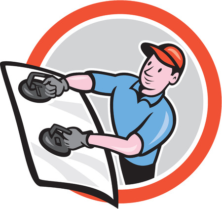 Illustration of automotive glass installer carrying windshield viewed from front set inside circle on isolated background done in cartoon style.