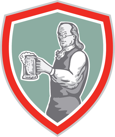 benjamin franklin: Illustration of Benjamin Franklin holding mug of beer looking to the side set inside shield crest on isolated background done in retro style.