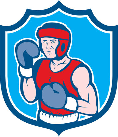 stance: Illustration of an amateur boxer wearing head gear and boxing gloves in a stance posing pose viewed from front set inside shield crest done in cartoon style on isolated background. Illustration