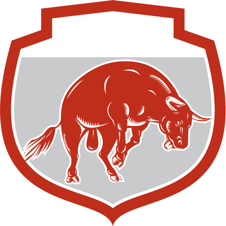 raging: Illustration of a raging bull jumping attacking charging facing side set inside shield crest on isolated white background done in retro style.