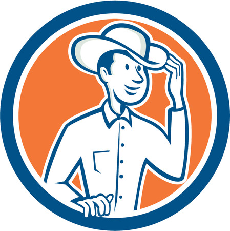 tipping: Illustration of a cowboy tipping touching hat set inside circle on isolated background done in cartoon style.  Illustration