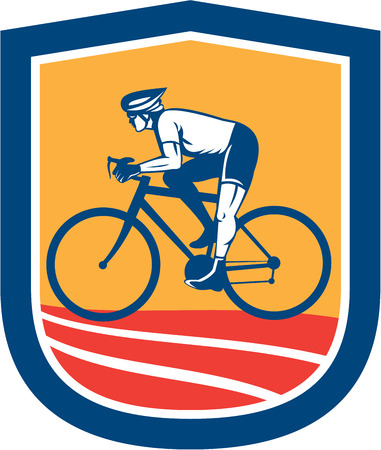 bicycle race: Illustration of a cyclist riding racing bicycle cycling side view set inside shield crest done in retro style.