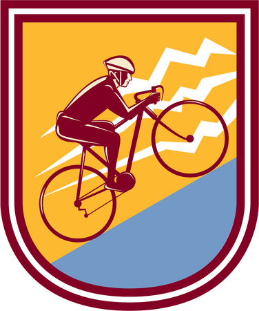 Illustration of a cyclist biking riding mountain bike going uphill mountain set inside shield crest done in retro style.  Vector
