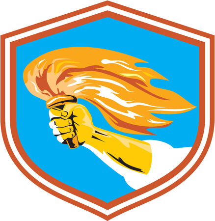 Illustration of a hand holding a burning flame flaming torch set inside shield crest done in retro style. Vector