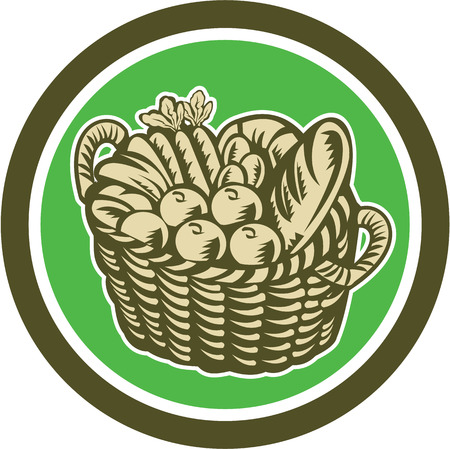harvest basket: Illustration of a wicker basket full of crop harvest field with festive fruits, vegetables and bread set inside circle done in retro woodcut style on isolated background.