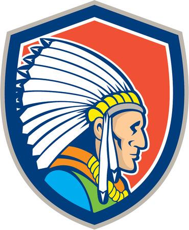 chieftain: Illustrazione di un capo indiano nativo americano con copricapo che guarda al lato impostato all'interno scudo stemma su sfondo isolato fatto in stile cartone animato.