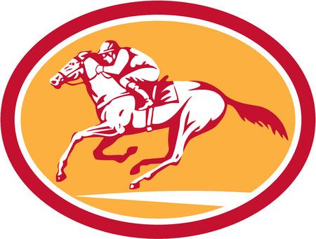 caballos corriendo: Ilustración de caballo y jinete de carreras visto desde lado dentro de la forma del círculo en el fondo aislado hecho en estilo retro.