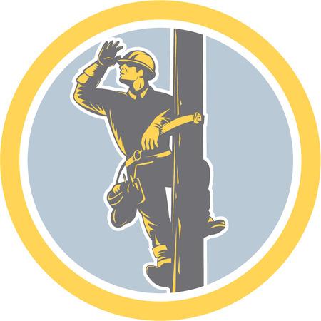 登山電気電源ラインマン電話修理技師ワーカーのイラストは、レトロなスタイルで行われる分離の背景に円の中に探している検索敬礼設定をポスト  イラスト・ベクター素材
