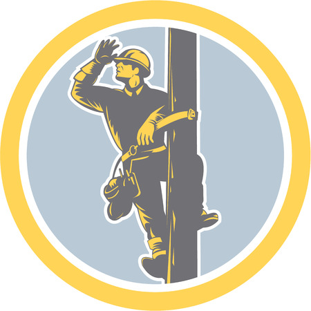 Illustration of a power lineman telephone repairman electrician worker climbing electric post looking searching saluting  set inside circle on isolated background done in retro style.