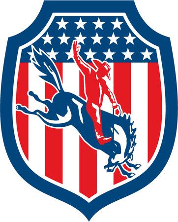 american rodeo: Illustrazione di un cowboy del rodeo americano cavalcando bronco controtendenza impostato all'interno scudo Crest on a stelle e strisce in background fatto in stile retr�.