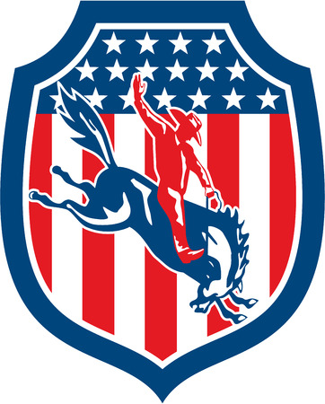 Illustration of an american rodeo cowboy riding bucking bronco set inside shield crest on with stars and stripes in the background done in retro style.  Illustration