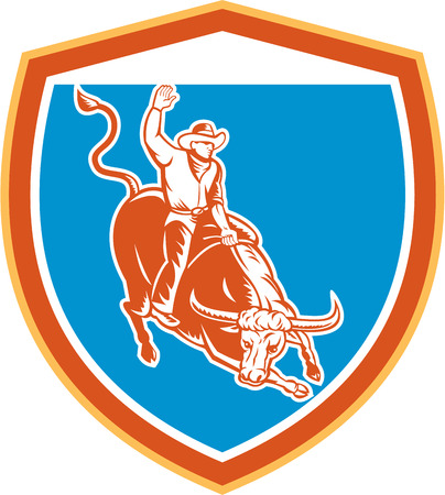 bucking bull: Illustration of rodeo cowboy riding bucking bull set inside shield crest on isolated white background done in retro style.
