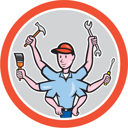 tradesman: Illustration of a tradesman construction worker with six hand holding screwdriver, paintbrush, spanner and hammer set inside circle on isolated background done in cartoon style.