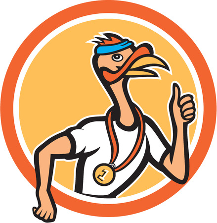 runner up: Illustration of a wild turkey runner running thumbs up with medal set inside circle done in cartoon style on isolated background.