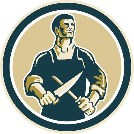 Illustratie van een slager snijder werknemer slijpen mes set binnen cirkel op geïsoleerde achtergrond gedaan in retro stijl. Stock Illustratie