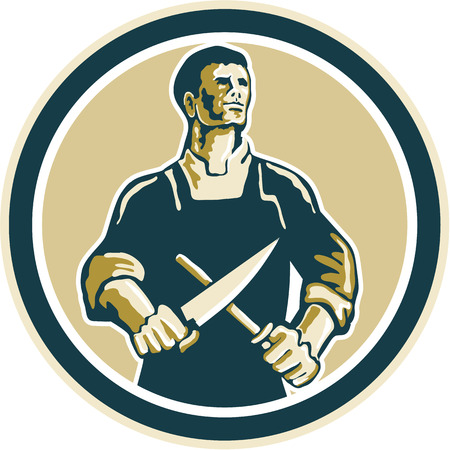 Illustration of a butcher cutter worker sharpening knife set inside circle on isolated background done in retro style.