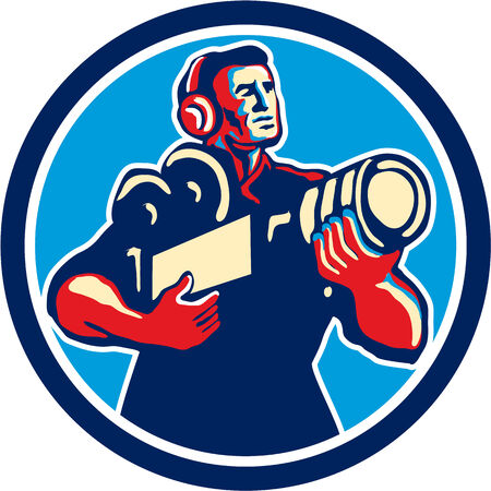 cradling: Illustration of a cameraman soundman movie director with headphones cradling holding vintage film movie camera set inside circle done in retro style.