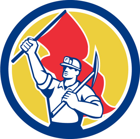 pick axe: Illustration of a coal miner with hardhat holding pick axe on shoulder and flag set inside circle on isolated background done in retro style.