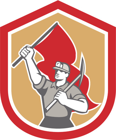 pick axe: Illustration of a coal miner hardhat with pick axe on shoulder and other hand carrying flag set inside shield crest on isolated background done in retro style.