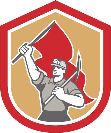 bauarbeiterhelm: Illustration von einem Kohle-Bergmann Helm mit Hacke auf der Schulter und andere Hand, die Flagge im Schild Wappen gesetzt auf isolierte Hintergrund im Retro-Stil.