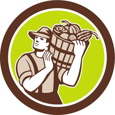 farm worker: Illustration of organic farmer carrying bucket of harvest crop produce of vegetables on shoulder done in retro style on isolated background.  Illustration