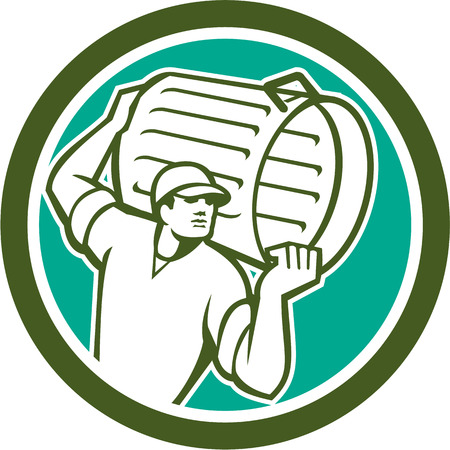 Illustration of a garbage collector carrying garbage waste rubbish bin looking to the side set inside circle shape on isolated background done in retro style.