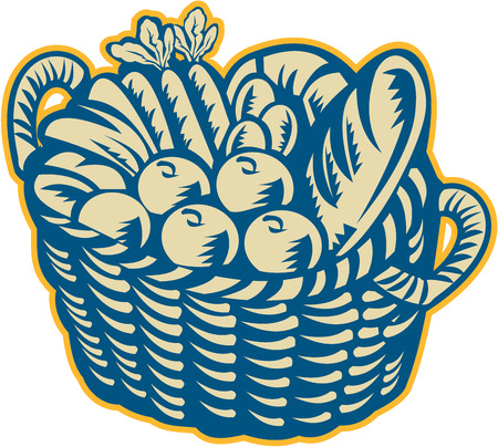 Illustration of a wicker basket full of crop harvest field with festive fruits, vegetables and bread on isolated white background done in retro woodcut style. Illustration