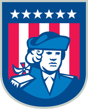 Illustration of an American Patriot head bust facing front with stars and stripes in the background set inside shield done in retro style.   Vector