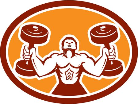 fitness training: Illustration of a man lifting dumbbell weights physical fitness training set inside circle on isolated background done in retro style.