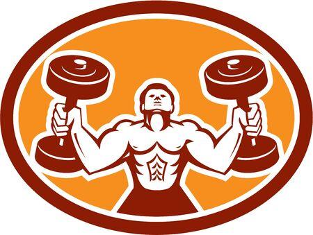 hombre levantando pesas: Ilustraci�n de un hombre de levantamiento de pesas con mancuernas entrenamiento f�sico fij� el c�rculo interior en el fondo aislado hecho en estilo retro.