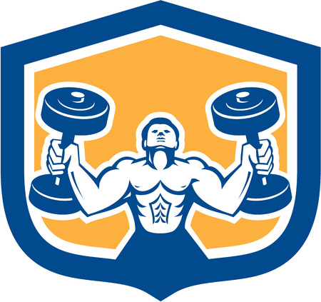 fitness training: Illustration of a man lifting dumbbell weights physical fitness training set inside shield crest on isolated background done in retro style.