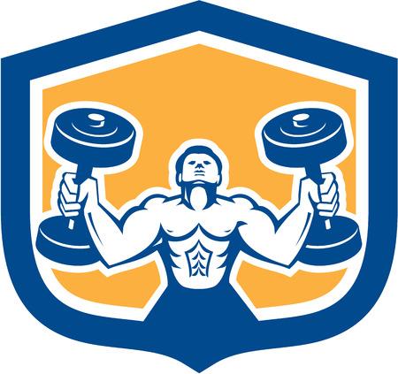 hombre levantando pesas: Ilustraci�n de un hombre de levantamiento de pesas con mancuernas entrenamiento f�sico establece dentro escudo protector en el fondo aislado hecho en estilo retro.