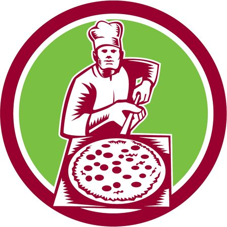 pizza maker: Illustration of a baker pizza maker holding a pizza peel viewed from front set inside circle done in woodcut retro style.