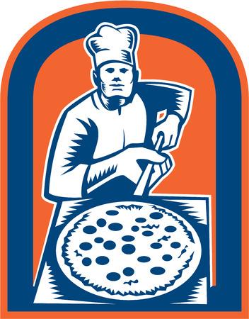 Ilustración de un fabricante de la pizza panadero sosteniendo una cáscara de pizza visto de frente fijó el escudo interior hecho en estilo retro grabado en madera. Ilustración de vector