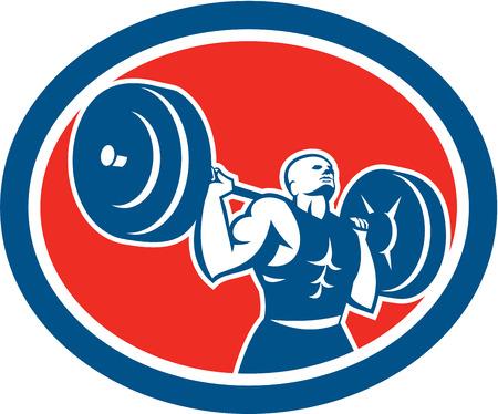 over the shoulder: Illustration of a weightlifter lifting barbell over shoulder set inside circle shape on isolated background done in retro style. Illustration
