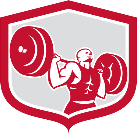 weightlifter: Illustration of a weightlifter lifting barbell behind shoulders back set inside shield crest shape on isolated white background done in retro style.