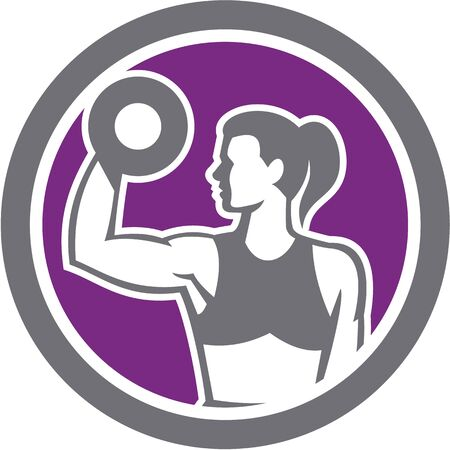 hand with dumbbell: Illustration of a woman lifting dumbbell weights with one hand looking to the side set inside circle on isolated background done in retro style.