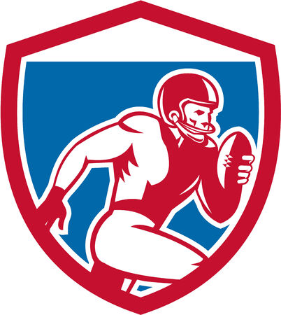 scat: Illustration of an american football gridiron player running with ball facing side set inside shield crest on isolated background done in retro style.