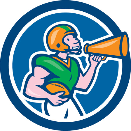 quarterback: Illustration of an american football gridiron quarterback player holding bullhorn blowhorn shouting facing side set inside circle on isolated background done in cartoon style. Illustration