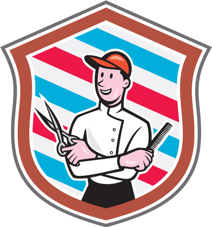 facing: Illustration of a barber holding a scissors and comb facing front looking up set inside shield crest with barber stripes in the background done in cartoon style.  Illustration