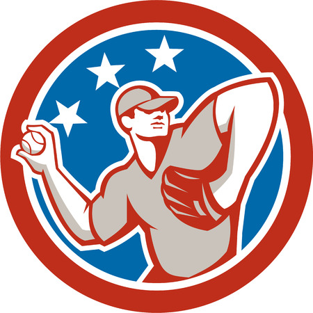 baseball pitcher: Illustration of a american baseball player pitcher outfilelder throwing ball with stars in the background done in retro style.  Illustration