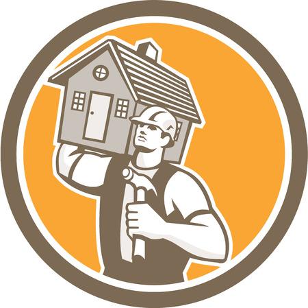 ハンマーを保持し、レトロなスタイルで行われる分離の背景に円の内部設定の肩の上の家を運ぶ大工ビルダーのイラスト。