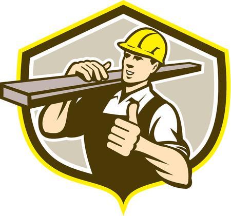 carpintero: Ilustración de un constructor carpintero carrying madera en los pulgares de los hombros para arriba establecidos dentro de la forma de cresta escudo sobre fondo aislado hecho en estilo retro.