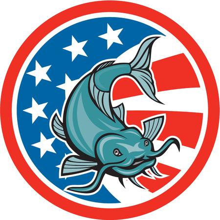 Illustratie van een meerval zwemmen met Amerikaanse vlag sterren en strepen in de achtergrond set binnen cirkel gedaan in cartoon stijl. Stock Illustratie
