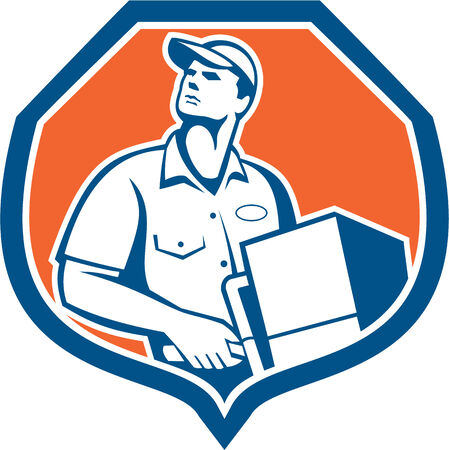 dolly: Illustration of a delivery worker delivering parcel package carton box showing on a dolly hand trolley set inside shield crest on isolated background done in retro style. Illustration