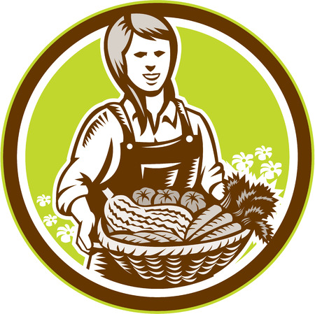 facing: Illustration of female organic farmer with basket of crop produce harvest fruits vegetables facing front set inside circle done in retro woodcut style.