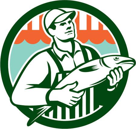 visboer: Illustratie van een slager visboer arbeider die vis set binnen cirkel gedaan in retro stijl.